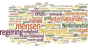 Afbeelding Wordle meest gebruikte woorden troonrede 2015