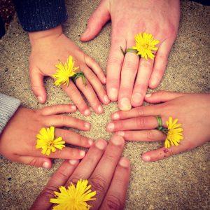 Afb Handen gezin in zand